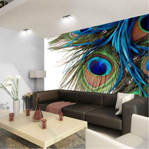 Details about Peacock Feather Clipart Art 3D Full Wall