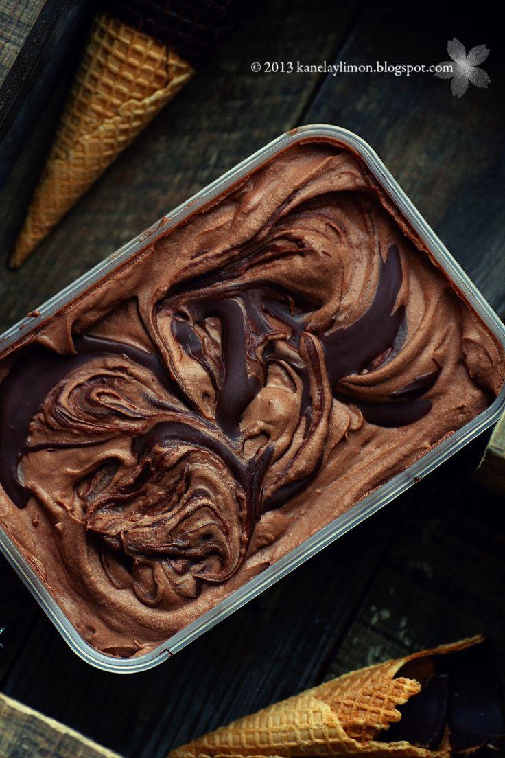Nutella Espresso Ice Cream by Kanela y Limon ~ Perfect! #coffee #chocolate #espresso #nutella #icecream #dessert #recipe