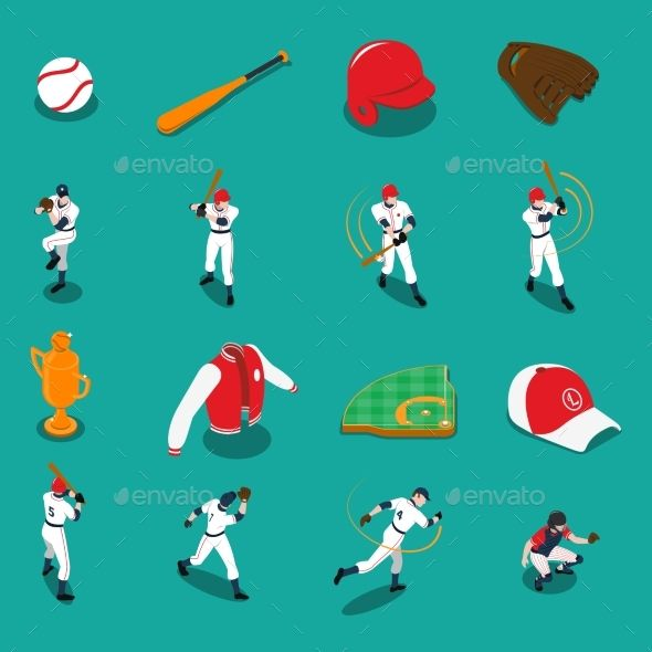 Baseball Isometric Icons Set Vector Template - #Baseball #Isometric #Icon #Set #Vector #Template #Sport #Activity #Conceptual #Design. Download here: https://graphicriver.net/item/baseball-isometric-icons-set/19539749?ref=yinkira