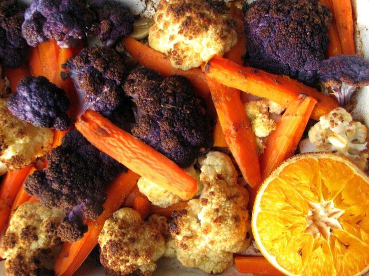 Coliflor asada con zanahoria y naranja
