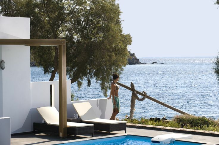 Enjoying the view from your #privatepool of your villa at Minos Beach art hotel! How does that sound? #minosbeach #crete