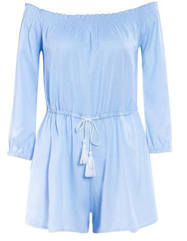 Blue Long Sleeve Off Shoulder Elastic Waist Beach Playsuit Romper - FADCOVER