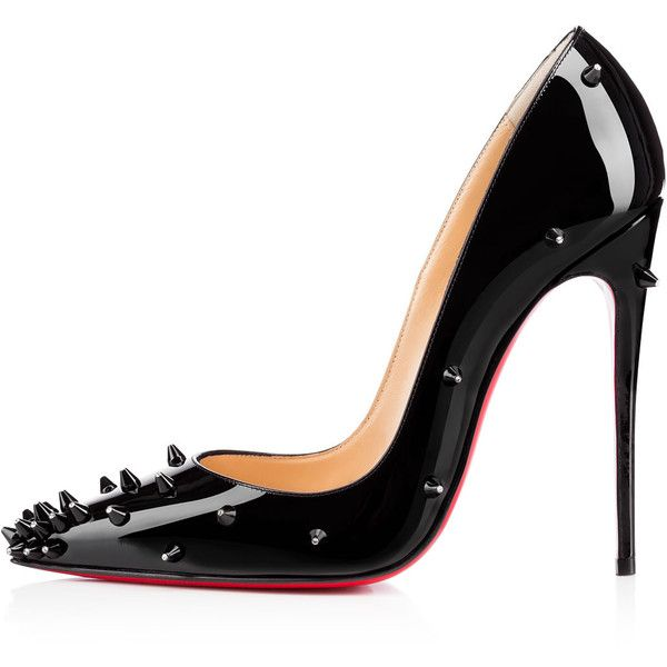 Christian Louboutin Diamond Spike ($1,045) ❤ liked on Polyvore featuring shoes, pumps, heels, scarpe, christian louboutin pumps, black spiked shoes, high heel shoes, spike shoes and black spiked pumps