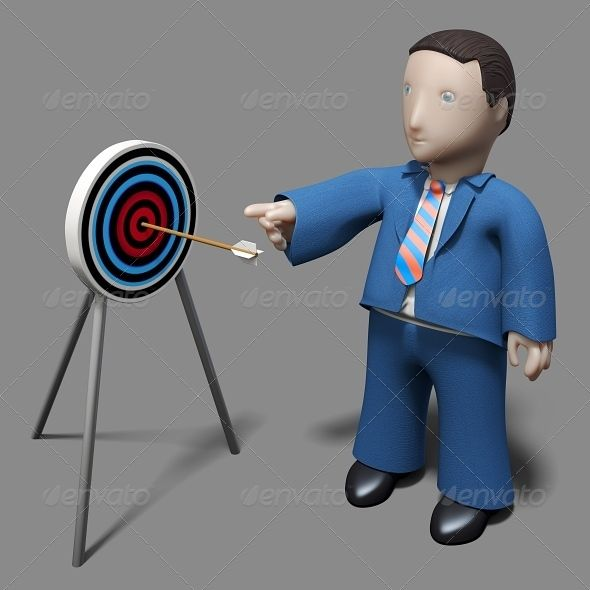 An arrow hitting a target and business person pointing to target center, he is giving instruction to audience how to achieve the m