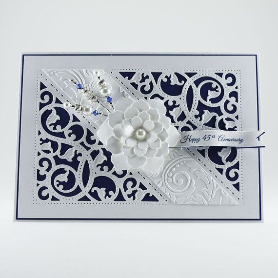 45th Anniversary Card - Sapphire Anniversary - Happy Wedding Anniversary Card - Luxury Card - Greeting Card - 3D Card - Fancy Card - 45 Year