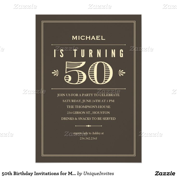 50th Birthday Invitations for Men