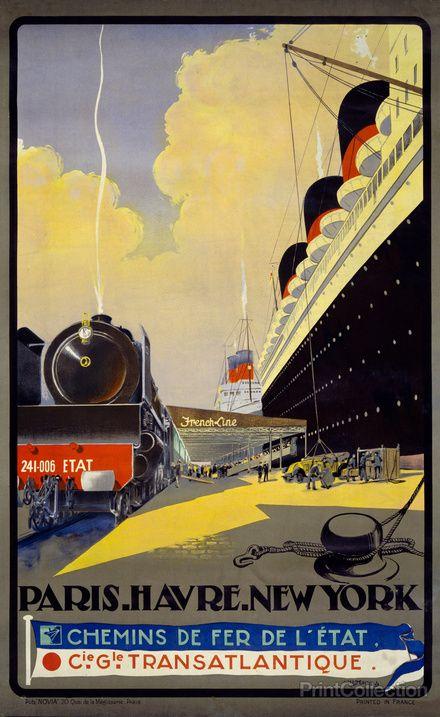 NY to Paris vintage poster