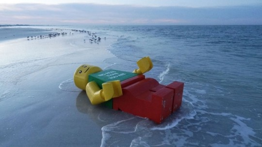 Giant Lego Man washed ashore in Siesta Key. No one claimed him. We think he was on his way to Lego Land
