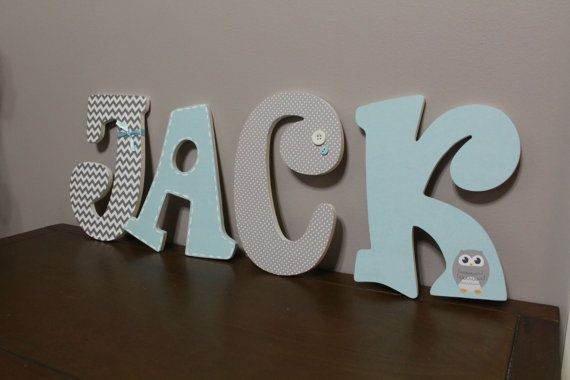 Nursery Wall Letters for Baby Boy - Custom Hanging Letters that spell baby's name - Wooden Wall Letters - Gray/Lt. Blue/Owl Theme
