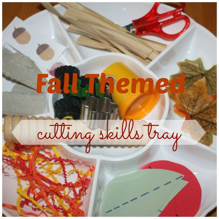 Fall Themed Cutting Skills Tray (from Little Bins for Little Hands)