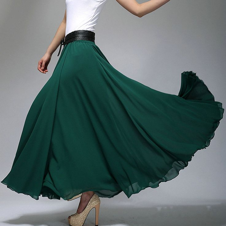 Dark Teal Chiffon Maxi Skirt with Extra Wide Hem - Long Teal Chiffon Skirt - SK2b