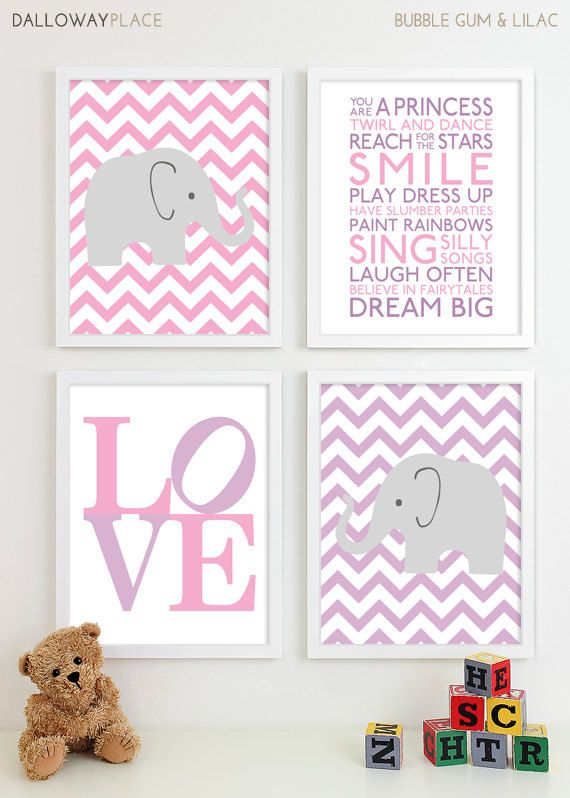 Baby Girl Nursery Art Prints Chevron Elephant Playroom Art Kids Girls Wall Art Room Decor Nursery Quotes Inspirational Playroom Rules 11x14