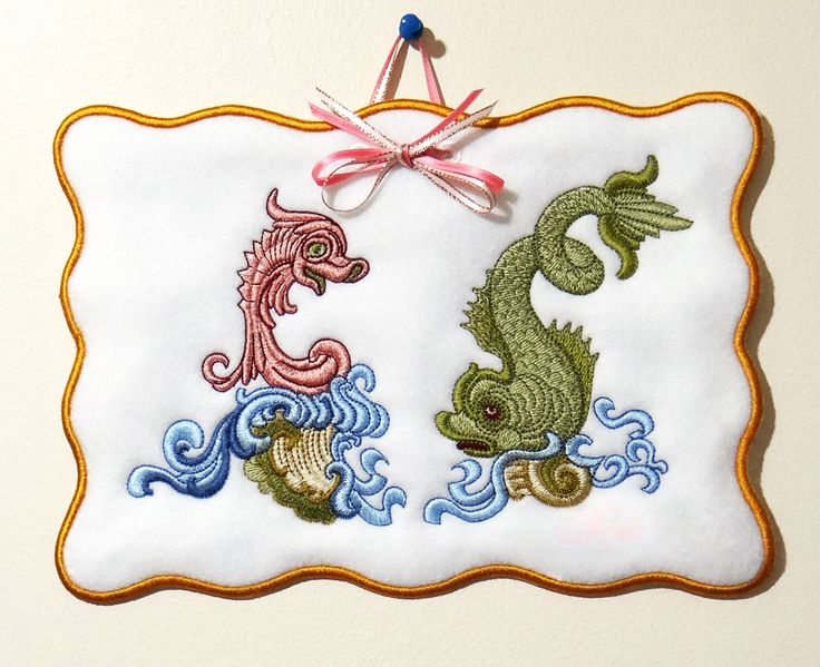 Seahorse and Fish - Unique and Disticntive Sue Box Embroidery designs from the Golden Classic Collection