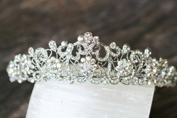 SWAROVSKI CRYSTAL REGAL FILIGREE BRIDAL TIARA      This truly BEAUTIFUL and gorgeous Regal Filigree Swarovski Crystallized Bridal Tiara is