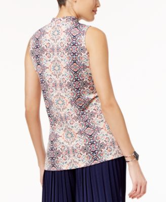 Ny Collection Printed Choker Top - Pink Palm Leaf Print XL