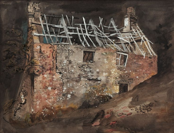 Something so beautiful about architecture in ruins. Love this mixed media piece: John Piper  A Ruined Cottage, 1941Mixed Media on Buff Paper35 x 45.5cm