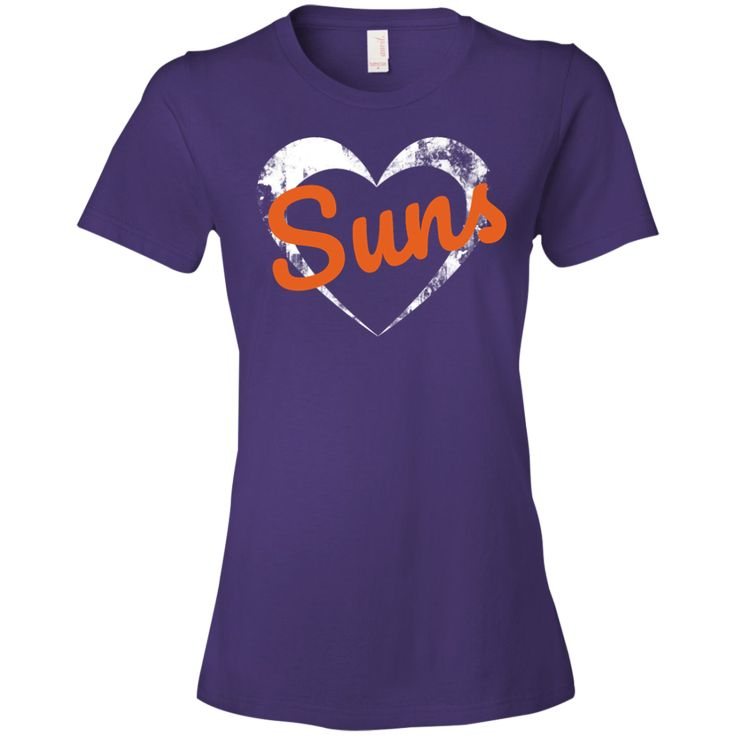 The Ladies Heart Suns T-Shirt is a direct to garment print, pre-shrunk 100% combed ringspun cotton in purple. Available in 5 sizes. Free shipping. Excellent quality. Visit SportsFansPlus.com for Details.