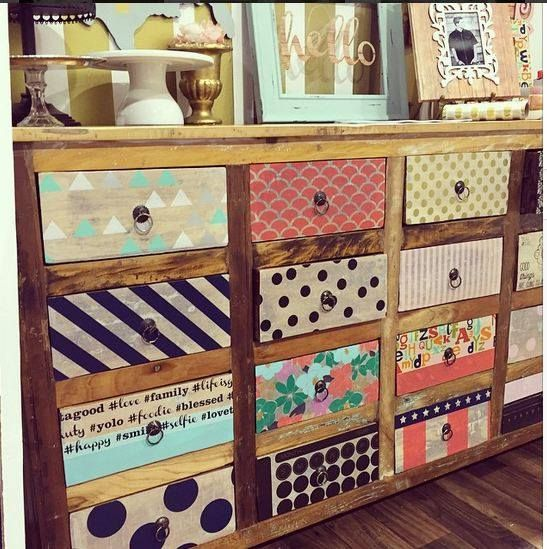 Hazel & Ruby DIY Decor Tape used to up cycle this gorgeous dresser!