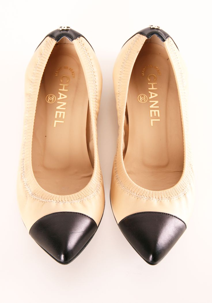 "CHANEL FLATS | Natural and Black | Pointed Toe Shoes | chanel flats | Two Toned | "" @Michelle Coleman-HERS """