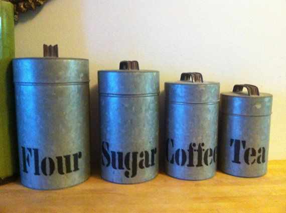 Vintage industrial kitchen canister set kitchen canister for Kitchen set industrial