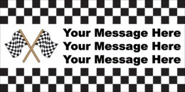 Raceway Checkered Customizable Banner. Decorate for your Nascar, Motor Speedway or Raceway Party with one of our Heavy Duty Indoor or Outdoor Vinyl Banners. CUSTOMIZE THIS BANNER WITH YOUR OWN WORDS. We will customize as few as just one banner for your very special event. Our HIGH VISIBILITY Heavy Duty Vinyl Banners should give you many years of use, either indoors or out. These banners are professionally manufactured using state of the art High Defininiton Large Format Digital Printers…