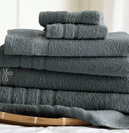 6 Piece Embroidered Egyptian Cotton Towel Set – Vintage Ribbon – (Gray)