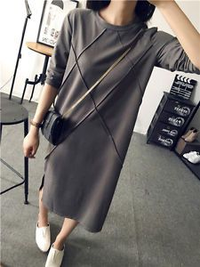 2015 Women Autumn Winter Long Sleeve cotton fabric casual maxi long jumper Dress