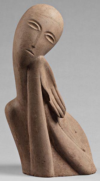 Ossip Zadkine - Buste de jeune fille - Terre cuite - 1914
