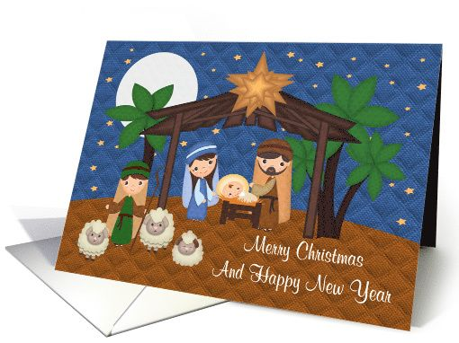 Christmas, general, religious, Nativity Scene with Baby Jesus card