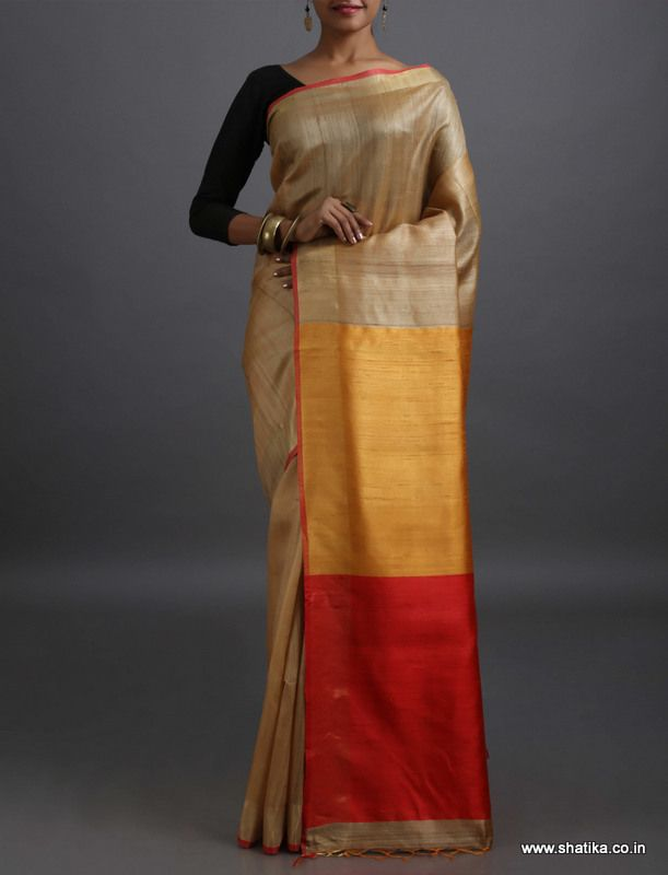 Darpan Plain with Double Colored Contrast Pallu #KhadiSilkSaree