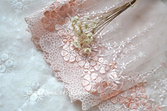 Orange Pink Embroidery Lace Trim in Floral Gauze  2 by lacetime, $6.99