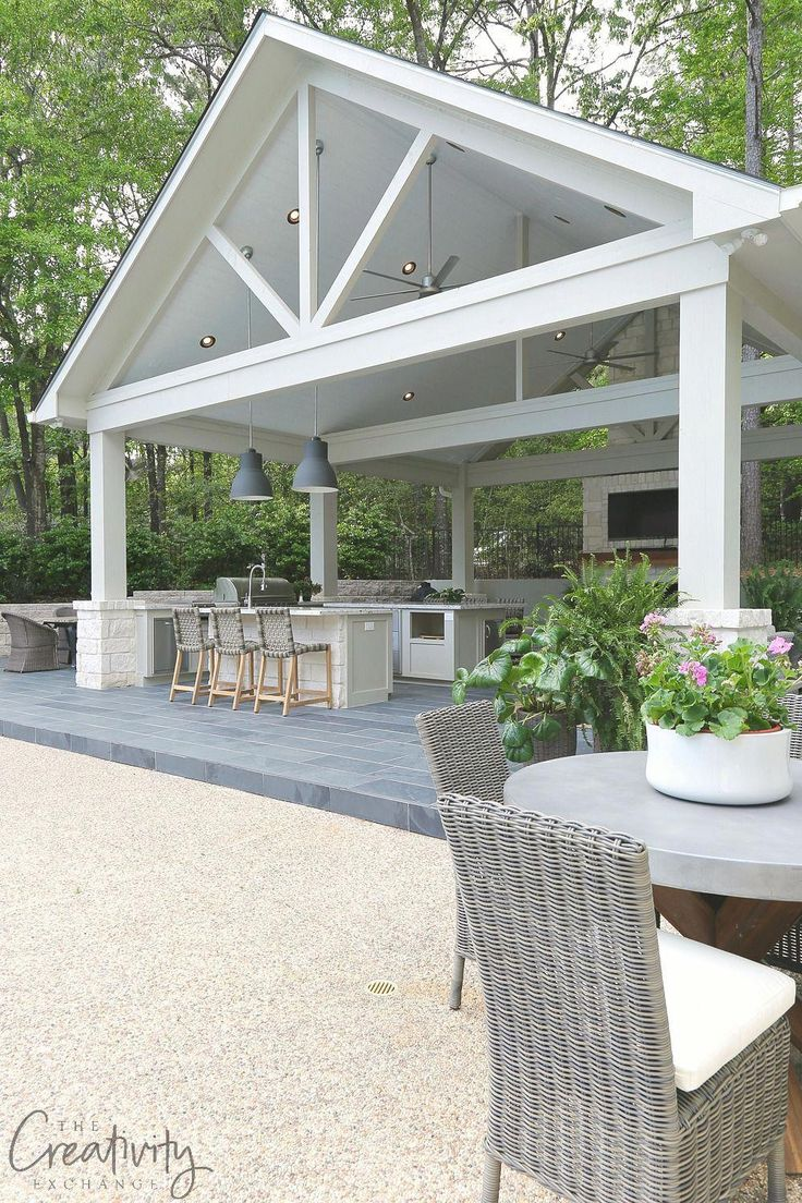 "Kombination Outdoor-Küche und Pool House Pavilion # ""patiodecorating""   – Jamie Evans"