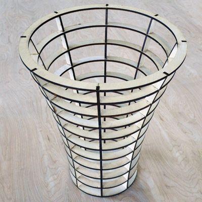 Laser Cut Paper Waste Basket, Office Paper Basket