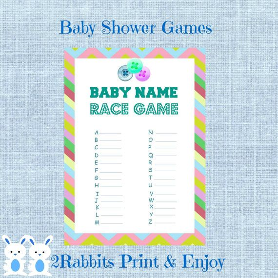 Cute As A Button Baby Name Race Game Button Baby Shower Name  #babyshowergames