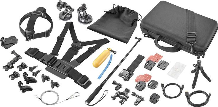 Dynex™ - Ultimate Accessory Kit for GoPro Action Camera - Black