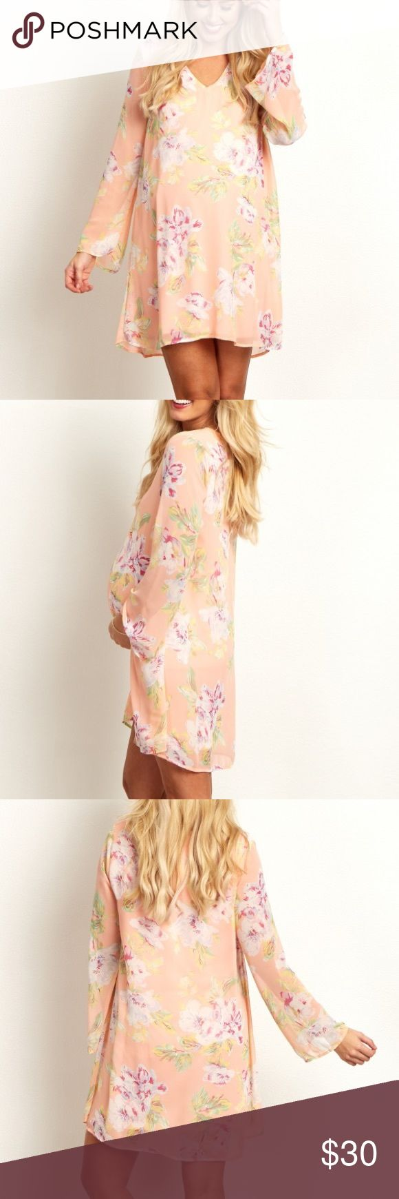 Floral maternity dress Pink Floral Printed V Neck Chiffon Maternity Dress. NWOT. Super cute for a baby shower 👶🏼 Pinkblush Dresses Long Sleeve