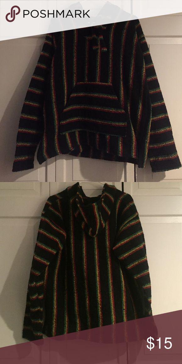 Rasta Baha Hoodie Black with rasta stripes Baha hoodie. earth ragz Shirts Sweatshirts & Hoodies