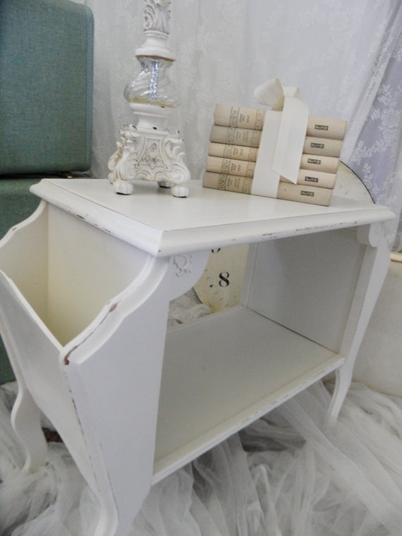 Vintage Shabby White Hand Distressed End Table by OurShabbyShack, $65.00