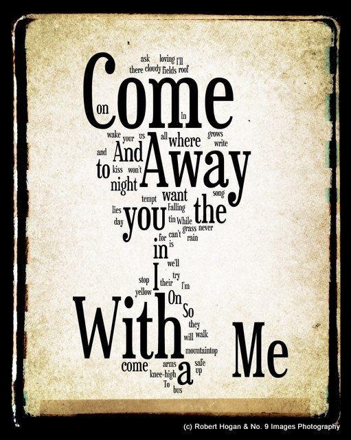 Come Away With Me Lyrics - Norah Jones Word Art - Word Cloud Art Woodblock Print - Gift Idea. $30.00, via Etsy.