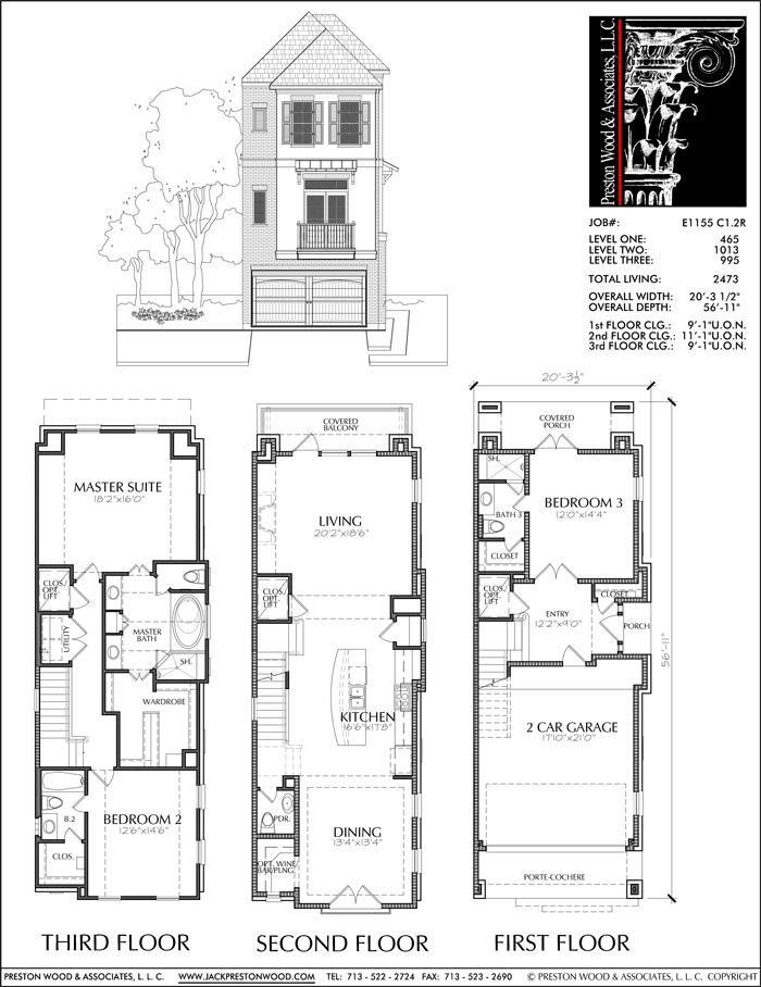 Three Story Townhouse Plan E1155 C1 2 Row House Design Town House Floor Plan House Plans
