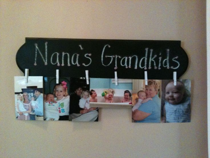 Gift Idea-mine was for Mother's Day from daughter-in-law.Craft wood plaque board paint black, hot glue small baby clothespins, use chalk to label. Can erase and change theme to beach,Christmas, Pet,etc.