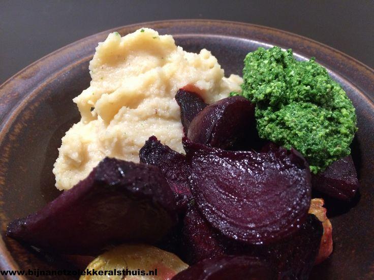 vegetarisch comfortfood puree knolselderij witte bonen geroosterde bietjes pesto van boerenkool recept #lekkersvanthuis
