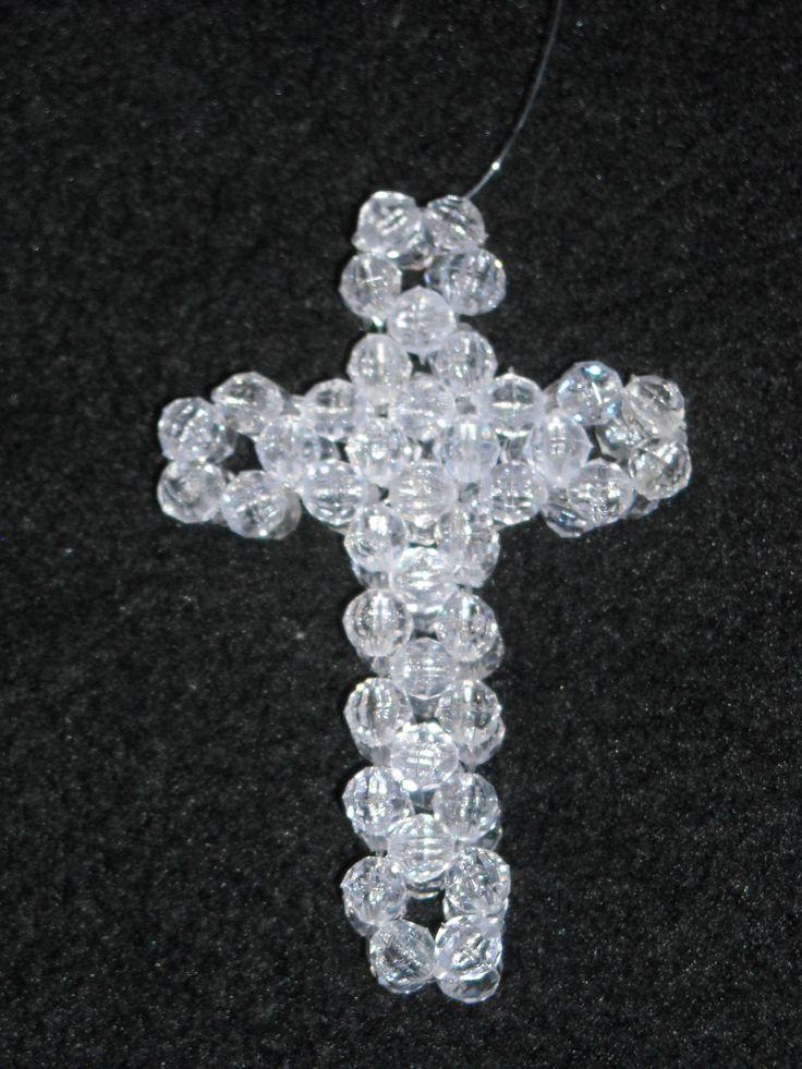 beaded 3d cross beaded