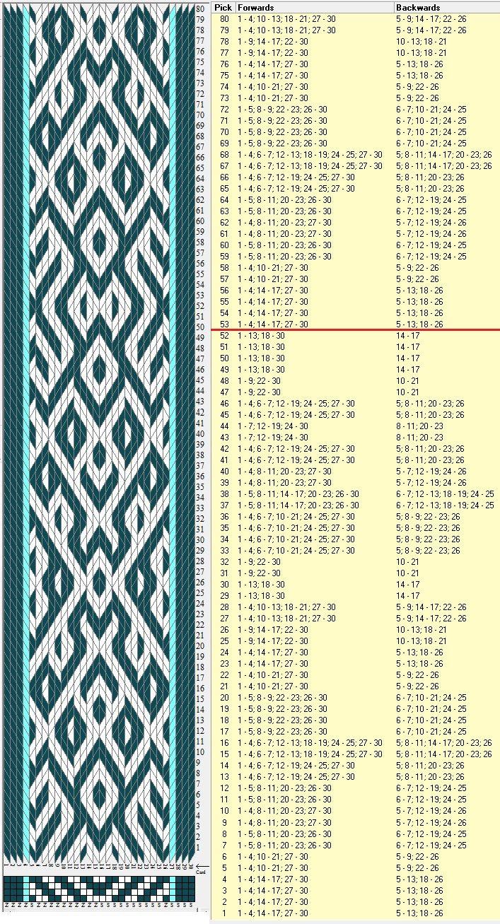 30 tarjetas, 3 colores, repite cada 52 movimientos // sed_1055 diseñado en GTT༺❁