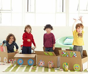 Build a train - need 1 box each to decorate, teaches patience and teamwork. The train gets out together when everyone is finished making their carriage (Good Behavior Games for Preschoolers)