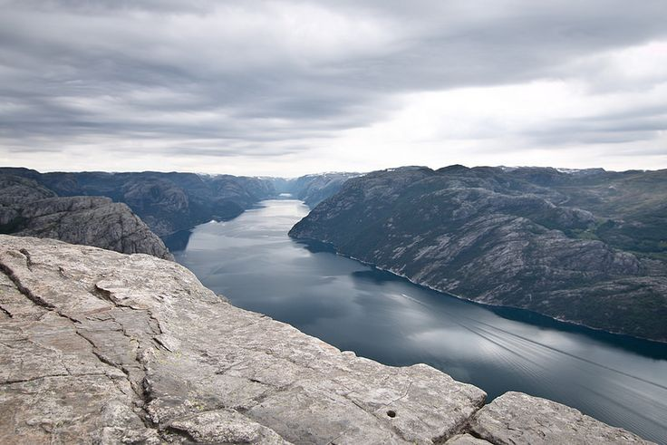 The Lysefjord seen from Preikestolen, close to Stavanger