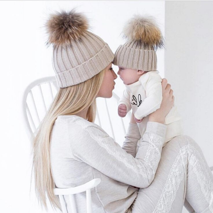 f9bc16b49c3 Winter Warm Caps Baby And Mother Hats Children Adult Pom Beanie Warm  Knitted Fur Crochet Hats