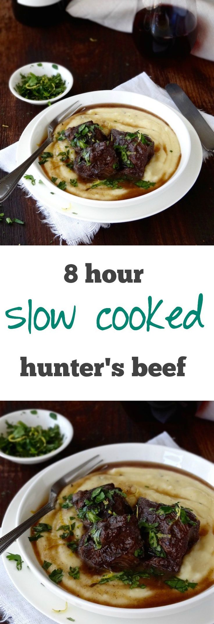 This slow cooked hunter's shin of beef is cooked for eight hours, requires just ten minutes of preparation, no looking after and results in melt-in-mouth tender beef in a rich and delicious gravy. Alchemy in the kitchen? I think so! | Plus Ate Six