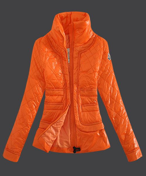 Moncler Outlet UK 2014 New Design Women Down Jacket Stand Collar Orange