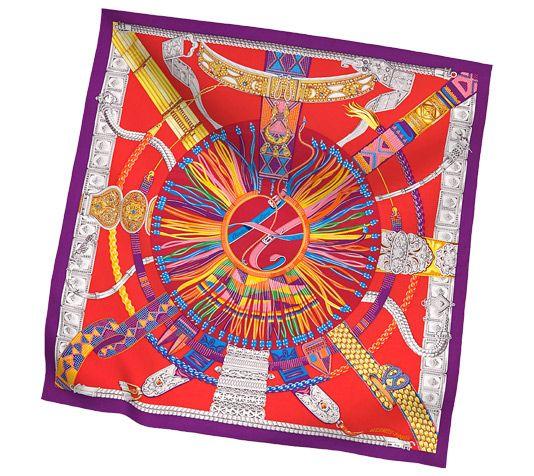 2014 F/W | Ceintures et Liens | Giant silk twill plume scarf, hand-rolled (140 cm x 140 cm) | Ref. H432658S 22 | VIOLET/ROUGE/JAUNE D OR | CA$990.00